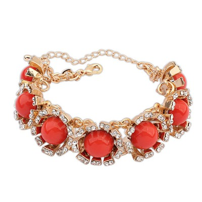 Brown Orange Round Gemstone Decorated Design Alloy Fashion Bracelets