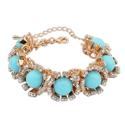 Maternity Light Blue Round Gemstone Decorated Design Alloy Fashion Bracelets