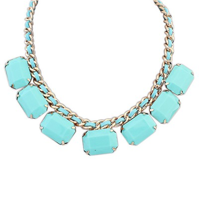 Custom Light Blue Square Shape Gemstone Decorated Design Alloy Bib Necklaces