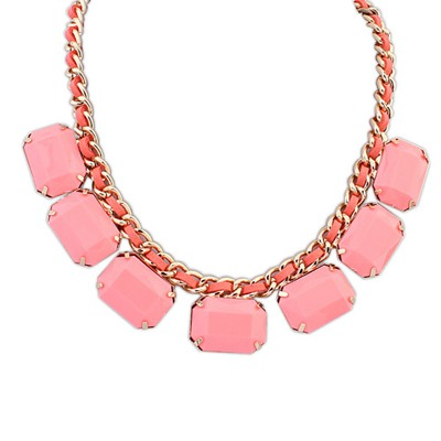 Collar Pink Square Shape Gemstone Decorated Design Alloy Bib Necklaces