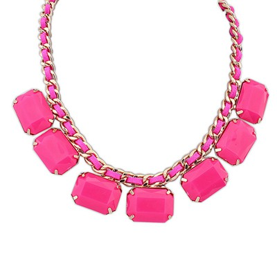 Streamline Purplish Red Square Shape Gemstone Decorated Design Alloy Bib Necklaces