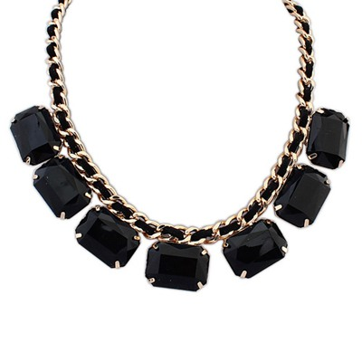 Pendants Black Square Shape Gemstone Decorated Design Alloy Bib Necklaces