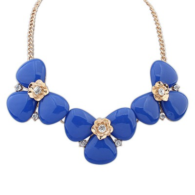 Denim Sapphire Elegant Gemstone Decorated Design Alloy Bib Necklaces