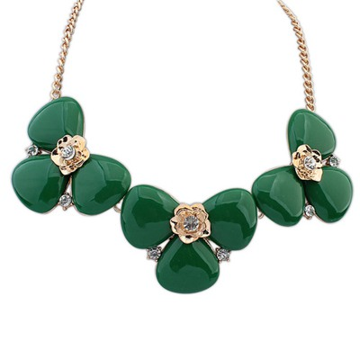 African Green Elegant Gemstone Decorated Design Alloy Bib Necklaces