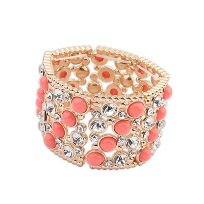 Glam Peach Red Gemstone Decorated Wide Elastic Design Alloy Fashion Bangles