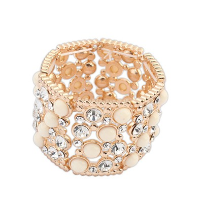 Charm Beige Gemstone Decorated Wide Elastic Design Alloy Fashion Bangles