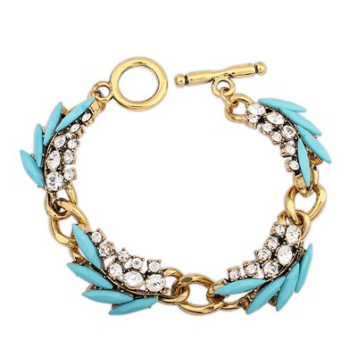 Skate Blue Diamond Decorated Vintage Ethnic Design Alloy Korean Fashion Bracelet