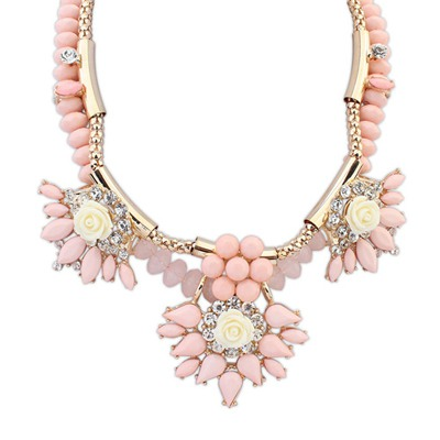 Renaissanc Light Pink Exaggerated Flower Gemstone Decorated Design Alloy Bib Necklaces