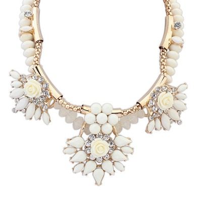 Costume Beige Exaggerated Flower Gemstone Decorated Design Alloy Bib Necklaces