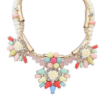 Fine Multicolor Exaggerated Flower Gemstone Decorated Design Alloy Bib Necklaces