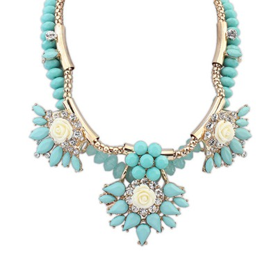 Down Light Blue Exaggerated Flower Gemstone Decorated Design Alloy Bib Necklaces