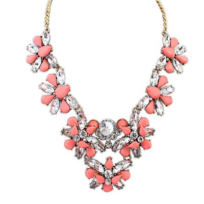 Bridesmaid Peach Red Geometric Shape Gemstone Decorated Design Alloy Bib Necklaces