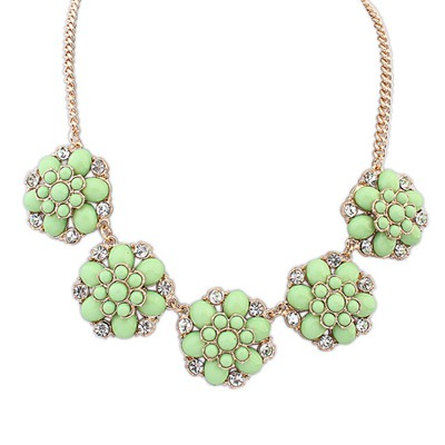Childrens Green Fashion Flower Gemstone Decorated Design Alloy Bib Necklaces