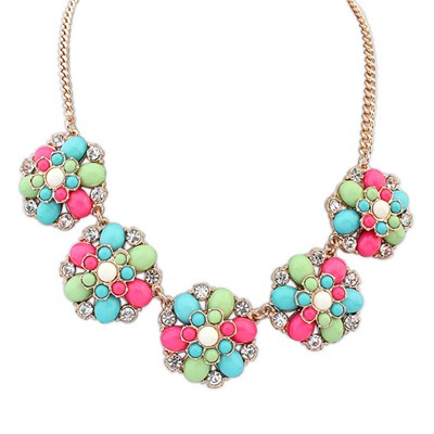 Pearl Multicolor Fashion Flower Gemstone Decorated Design Alloy Bib Necklaces