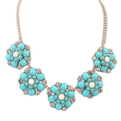 Beauteous Light Blue Fashion Flower Gemstone Decorated Design Alloy Bib Necklaces