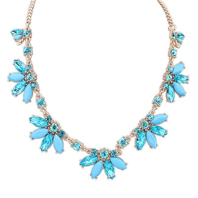 Plain Light Blue Sweet Acrylic Decorated Design Alloy Bib Necklaces