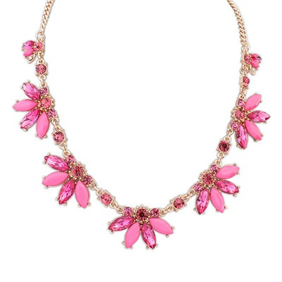 Buckle Purplish Red Sweet Acrylic Decorated Design Alloy Bib Necklaces