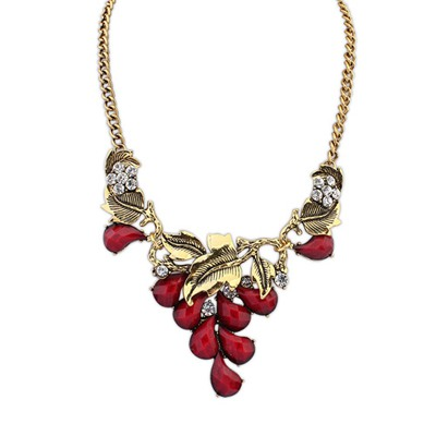 Satchel Red Vintage Salix Leaf Decorated Design Alloy Bib Necklaces