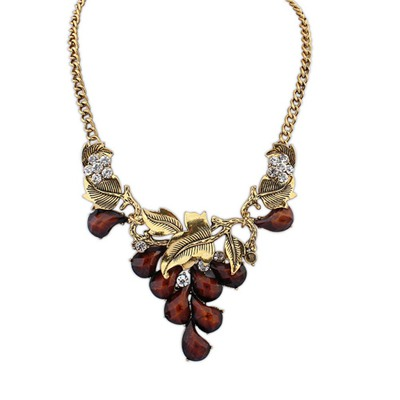 Light Dark Coffee Vintage Salix Leaf Decorated Design Alloy Bib Necklaces