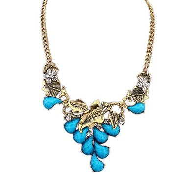 Engagement Blue Vintage Salix Leaf Decorated Design Alloy Bib Necklaces
