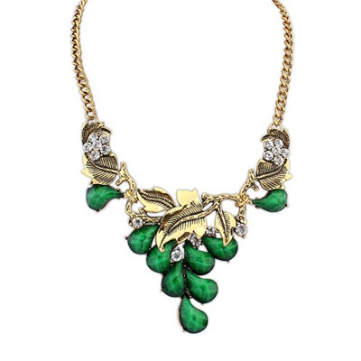 Choker Green Vintage Salix Leaf Decorated Design Alloy Bib Necklaces