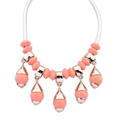 Christmas Pink Light Bulb Shape Gemstone Pendant Design CCB Bib Necklaces