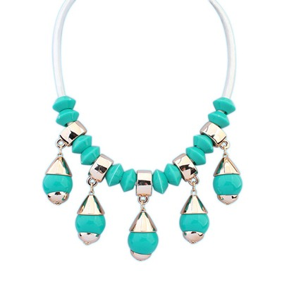 Bespoke Green Light Bulb Shape Gemstone Pendant Design CCB Bib Necklaces