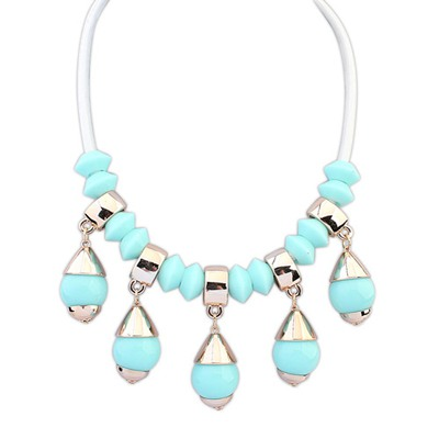 Glueless Light Blue Light Bulb Shape Gemstone Pendant Design CCB Bib Necklaces