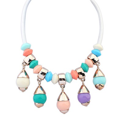 Expression Multicolor Light Bulb Shape Gemstone Pendant Design CCB Bib Necklaces