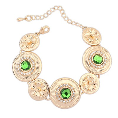 Ruffled Green Round Shape Metal Patchwork Design Alloy Korean Fashion Bracelet
