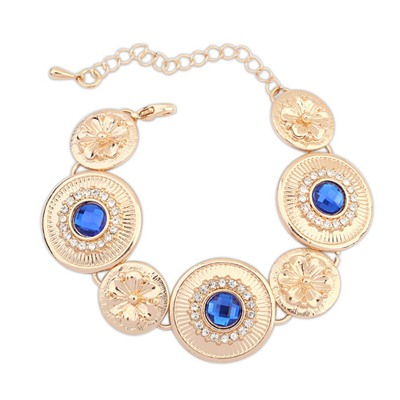 Online Sapphire Round Shape Metal Patchwork Design Alloy Korean Fashion Bracelet