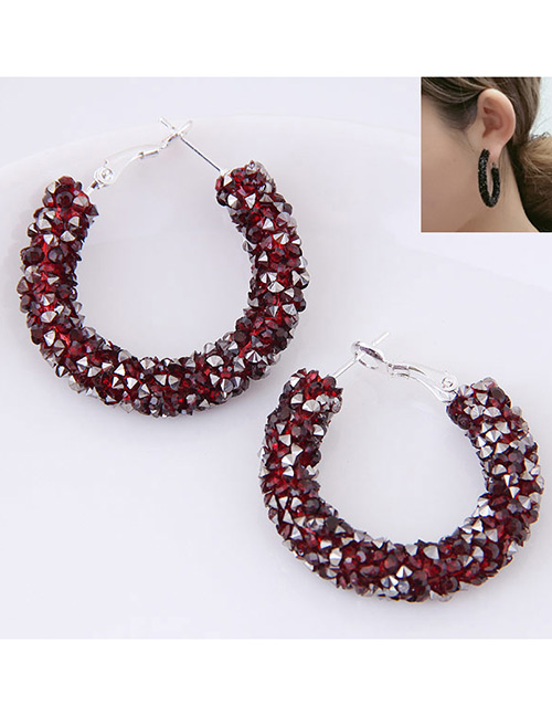 Fashion Claret-red Pure Color Decorated Earrings