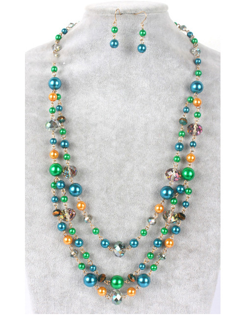 Fashion Green Color-matching Decorated Jewelry Sets ...