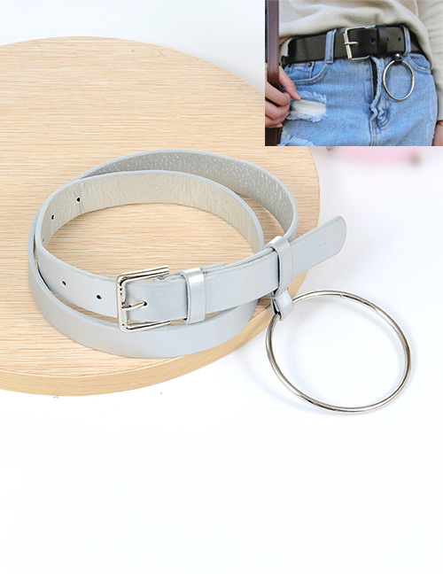 Fashion Silver Color Big Circular Ring Decorated Pure Color Waistband