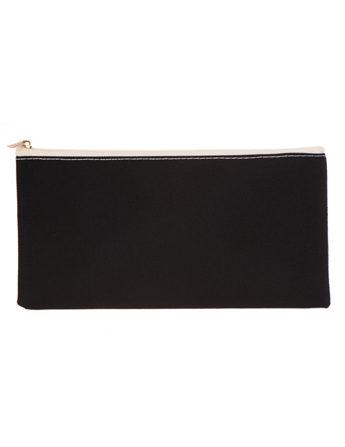 Fashion Black Square Shape Decorated Cosmetic Bag