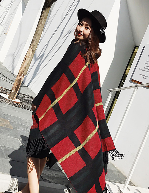 Trendy Red Grid Pattern Decorated British Style Shawl