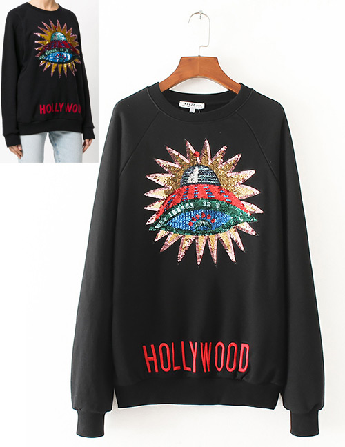 Trendy Black Sequins Decorated Long Sleeves Hoodie