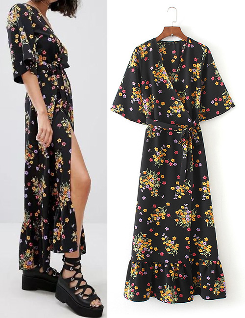 Trendy Black Flower Pattern Decorated V Neckline Long Dress