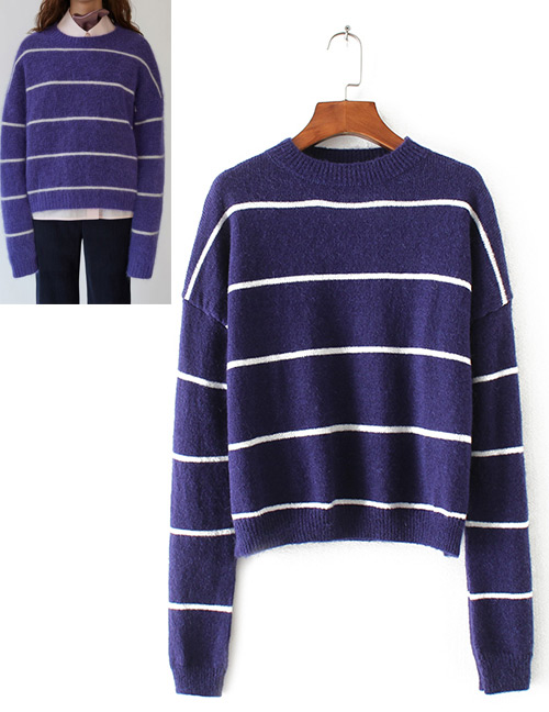 Trendy Dark Blue Stripe Pattern Decorated Long Sleeves Sweater