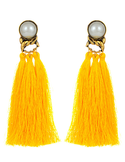 Fashion Orange Pearls Decorated Long Tassel Earrings