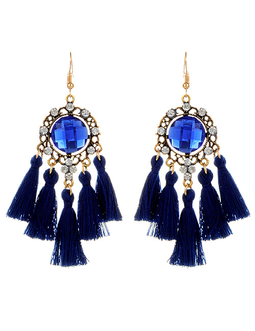 Fashion Sapphire Blue Round Shape Diamond Decorated Tassel Earrings