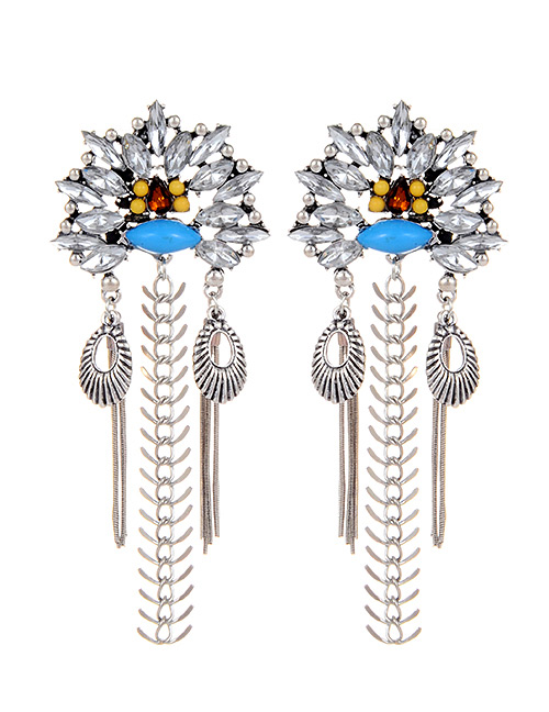 Fashion Silver Color Diamond Decorated Geometric Shape Earrings