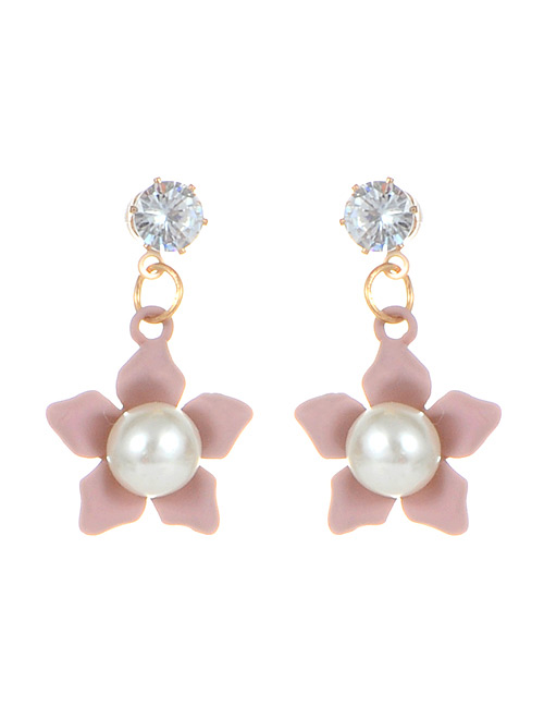Fashion Pink Pearls Decorated Flower Shape Earrings
