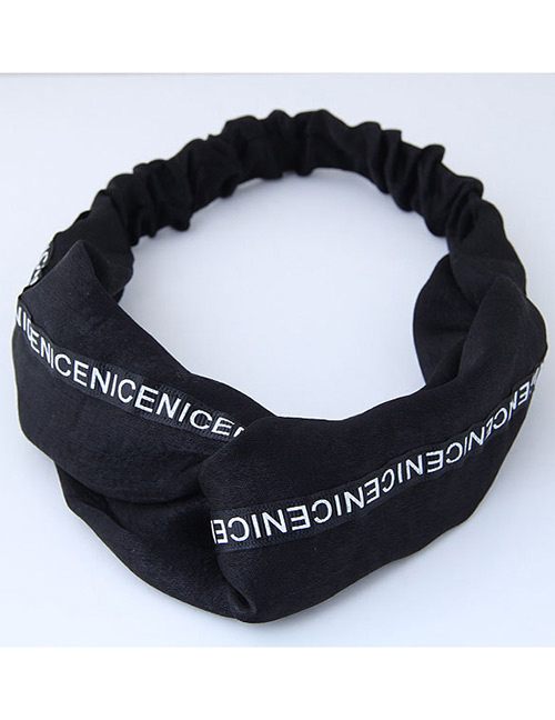 Fashion Black Letter Pattern Decorated Headband