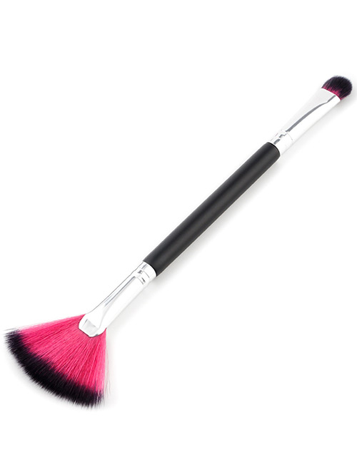 Trendy Black+plum Red Sector Shape Decorated Makeup Brush(1pc)
