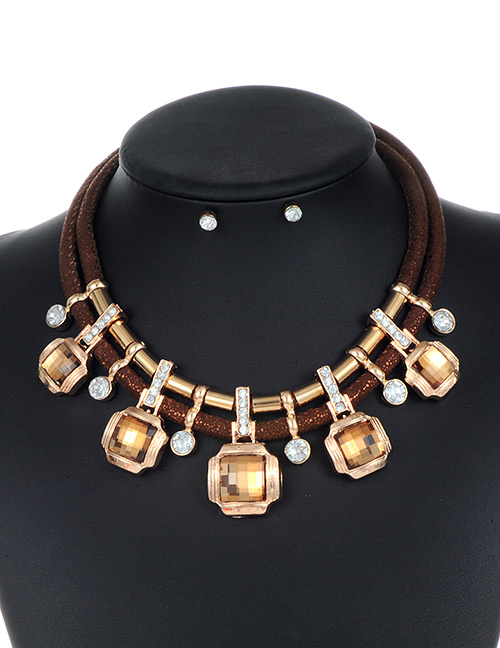 Trendy Brown Square Shape Decorated Double Layer Jewelry Sets