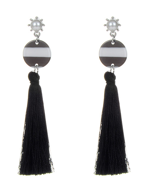 Trendy Black Pearl Decorated Long Tassel Earrings