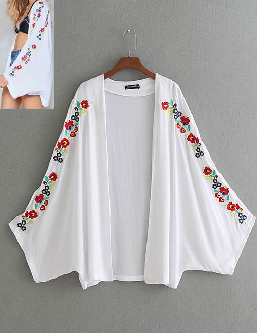 Fashion White Flower Pattern Decorated Long Sleeves Cardigan