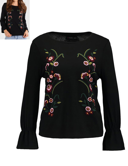 Fashion Black Embroidery Flower Decorated Long Sleeves Blouse