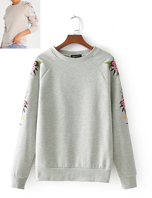 Fashion Gray Flower Pattern Decorated Long Sleeves Hoodie